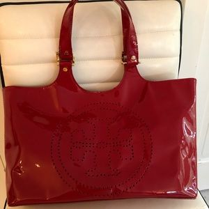 Gently used red Tory Burch patent leather tote bag